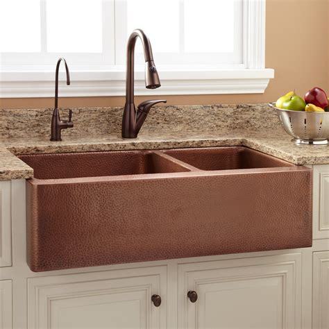 36 Quot Tegan 70 30 Offset Double Bowl Copper Farmhouse Sink Farmhouse Copper Kitchen Sink