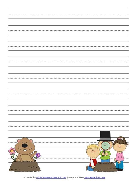 groundhog day writing paper groundhog day handwriting paper free printable