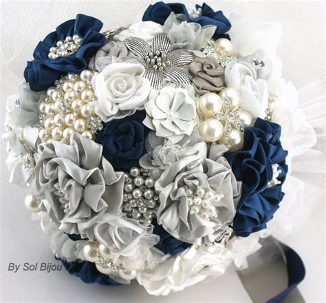 navy blue and white wedding brooch bouquet wedding jeweled bridal navy blue white
