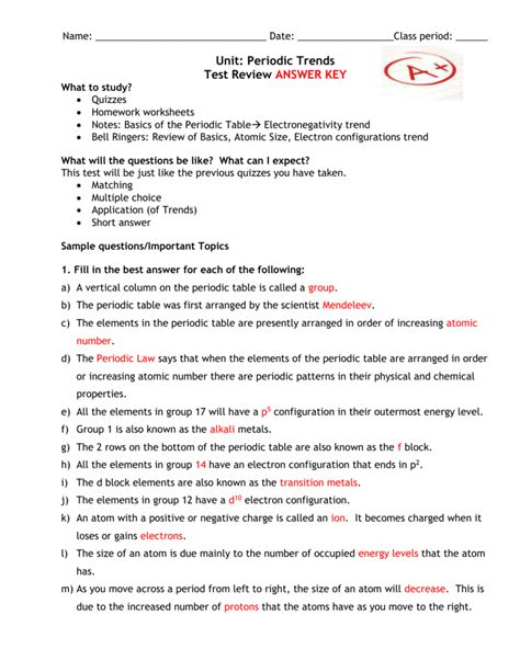 periodic table basics answer key trends in the periodic table worksheet answer key