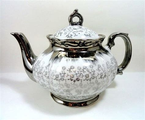 flower pattern kettles sterling china japan teapot tea pot white with silver