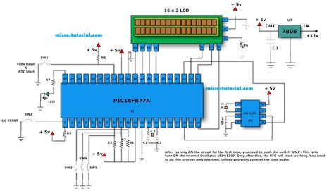 ds1307 circuit diagram pic16f877a lcd digital clock with ds1307 electronica