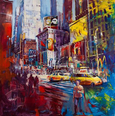 Painting In Nyc by New York City Voka Spontaneous Realism Abstract