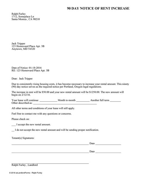 Washington State Rent Increase Letter Portland 90 Day Notice Of Rent Increase Ez Landlord Forms