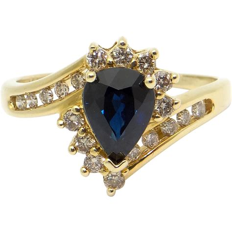 Blue Sapphire 7 72ct 14k yellow gold 1 72ct pear shape blue sapphire