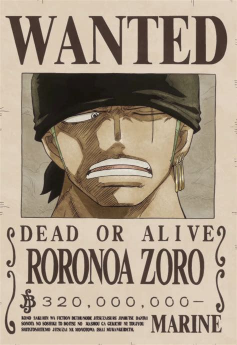 membuat poster buronan one piece image roronoa zoro s current wanted poster png one