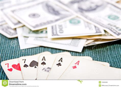Gift Card With Money - poker cards with money stock photo image 12665990