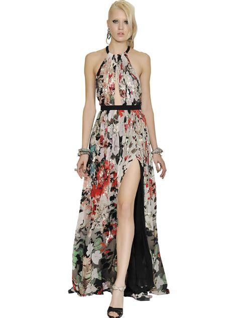 Cavali Dress roberto cavalli sequined silk georgette dress lyst