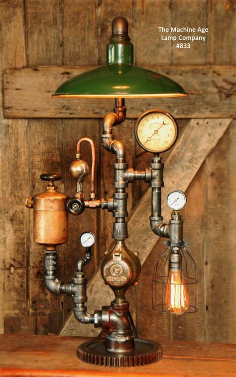 steampunk industrial lamp vintage oiler green shade