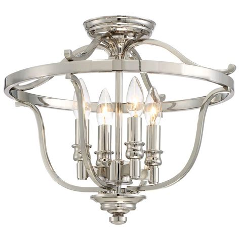 Ceiling Mounted Light Point Minka Lavery Audreys Point 4 Light Polished Nickel Semi Flush Mount 3296 613 The Home Depot