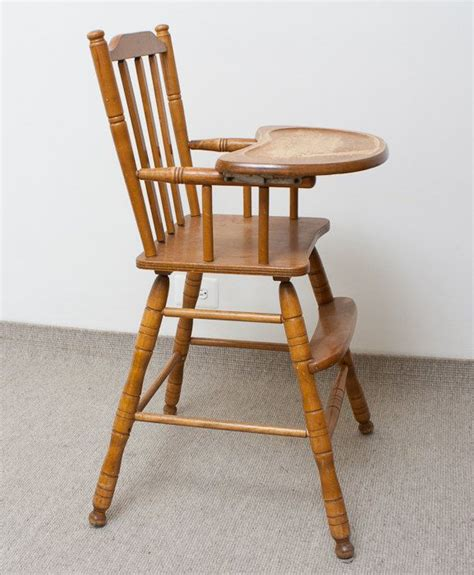 Wooden High Chair by Reserved For Sheena Vintage Wooden High Chair Oak
