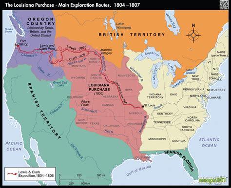louisiana purchase map key louisiana purchase exploration routes 1804 1807 map
