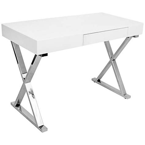 white and chrome desk luster glossy white wood and chrome office desk 7c696