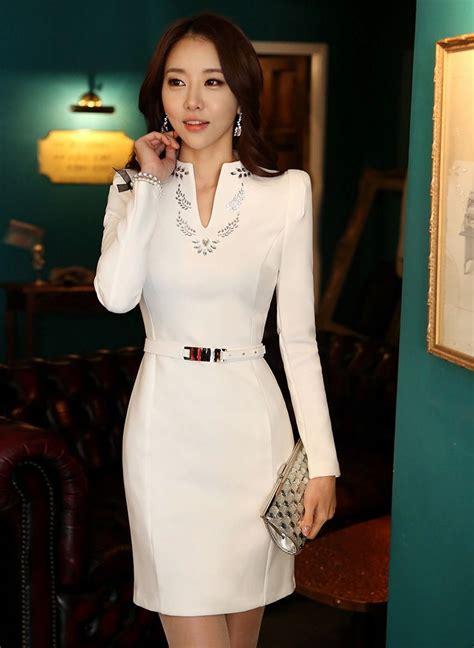 Formal Korea Dress Ds4194 Black korea formal dress floral pattern beading v neck dress