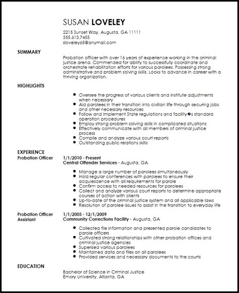 parole officer resume sle resume for retail associate