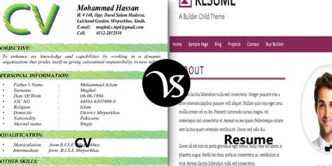 difference between cv and resume difference all