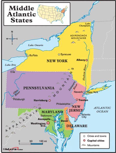 us map mid atlantic region 13ga the middle colonies