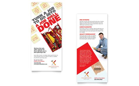 advertising card template handyman services rack card template design