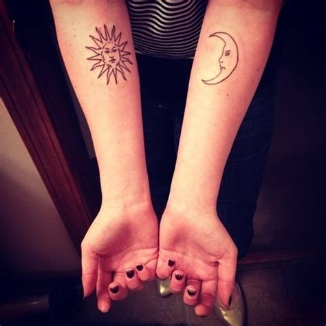 sun and moon matching tattoo 30 best forearm matching tattoos