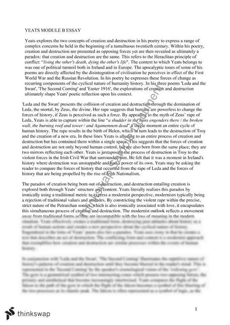 Creation Essay by Module B Yeasts Essay Creation And Year 12 Hsc Advanced Thinkswap