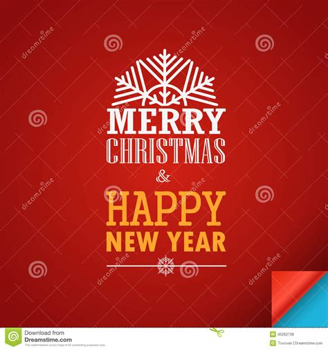 merry christmas and a happy new year greeting card stock
