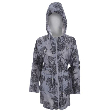 Floral Hooded Jacket womens floral pattern hooded zip up packaway