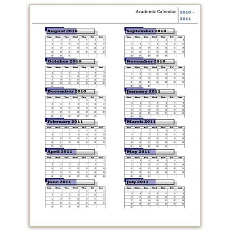 academic year calendar template school year calendar template printable calendar templates