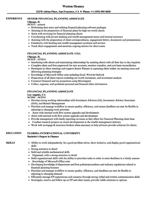 Finance Associate Sle Resume by Financial Planning Associate Resume Sles Velvet