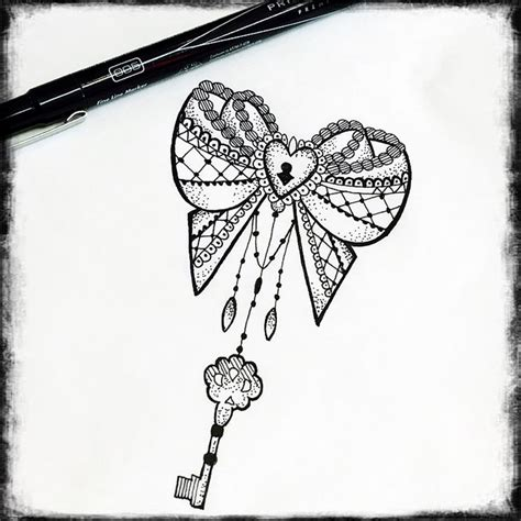 lovely heart key with bow 1000 ideas about lock key tattoos on lace