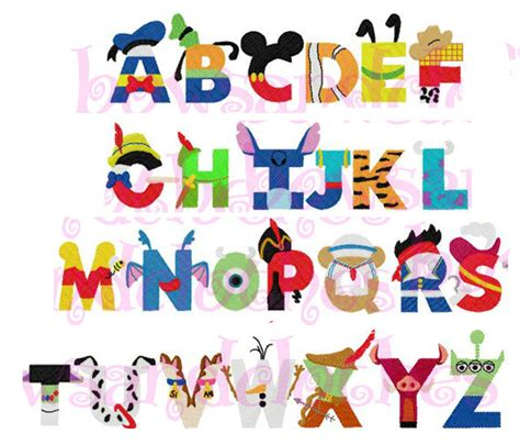 Disney Character Letter Picture disney inspired letters font embroidery design instant