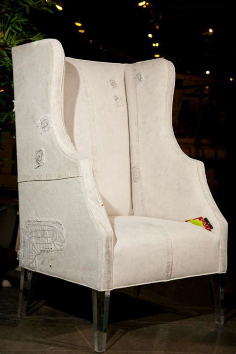 truck tarp wing chair with lucite legs at 1stdibs