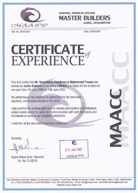 Work Experience Letter For Architect Maacc Work Certificate