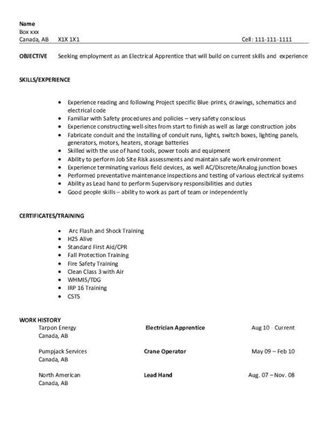 apprentice electrician resume sles resume sle electrical apprentice college to career
