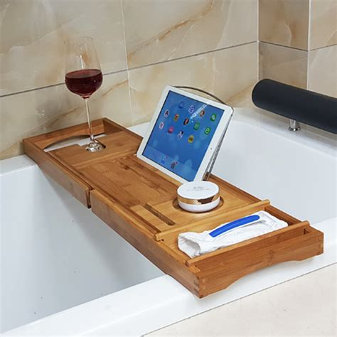 bathtub caddy tray honana bx 816 expandable bamboo bath caddy wine glass