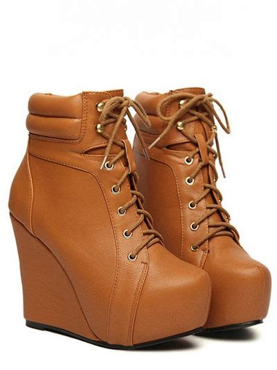 Wedges Pin Merak 4 5cm lace up wedge heel boots on luulla