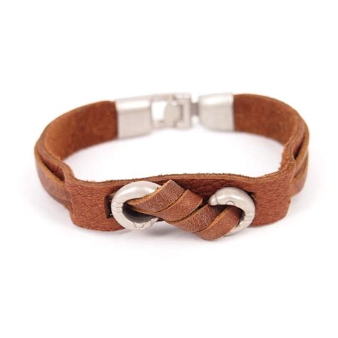 Handmade Infinity Bracelet - handmade leather infinity logo bracelet brown on luulla