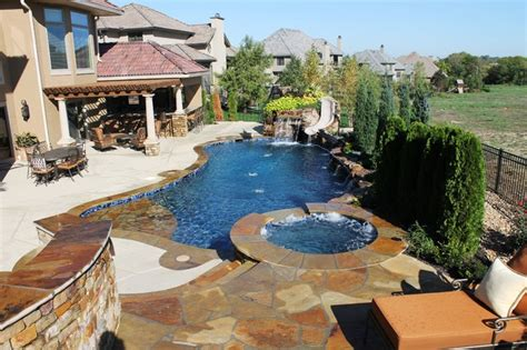 backyard pool and spa backyard living mediterranean pool kansas city by