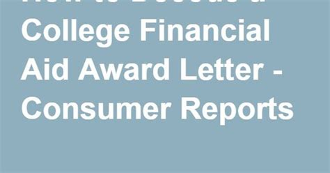Award Letter Money How To Decode A College Financial Aid Award Letter Letters Money And Colleges