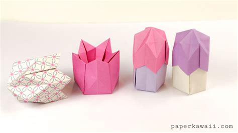 Origami Egg Box - origami pentagonal box variations tutorial paper kawaii