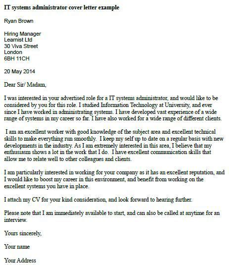 cover letter exles for administration it systems administrator cover letter exle