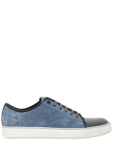 blue lanvin sneakers lyst lanvin patent leather suede sneakers in blue for
