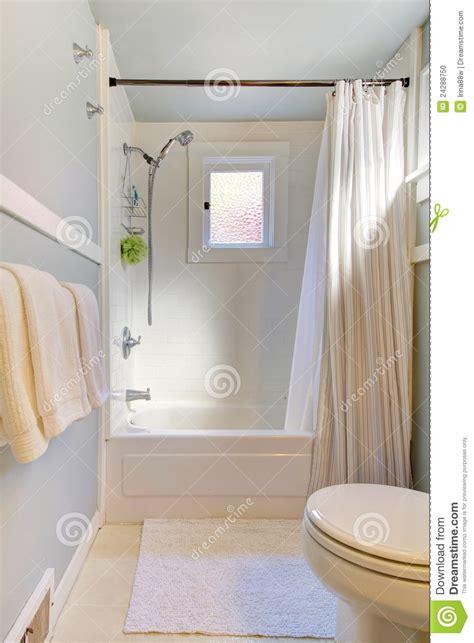 small blue bathroom  light grey blue stock photo