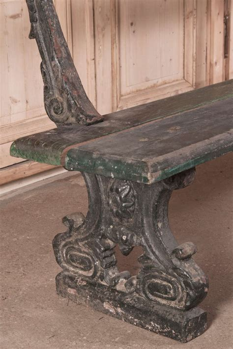 antique wrought iron garden bench antique cast iron and plank garden bench at 1stdibs