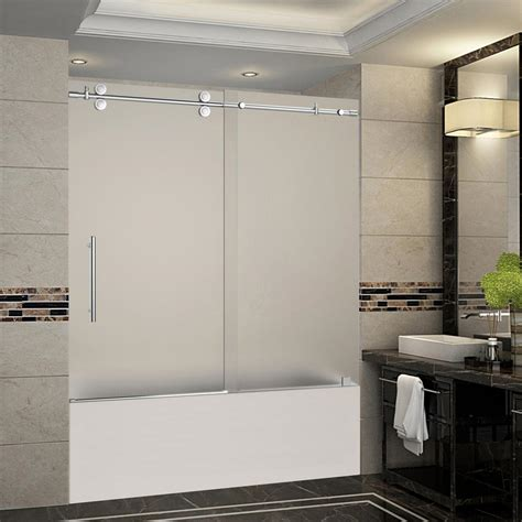 Frameless Tub Glass Doors Aston Langham 56 In To 60 In X 60 In Completely Frameless Sliding Tub Door With Frosted Glass