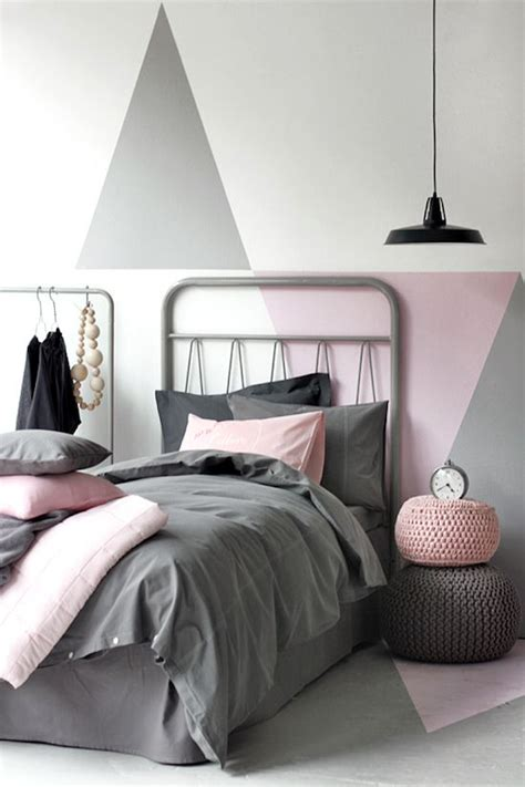 triangle bedroom design triangle pattern grey decor room and pink black