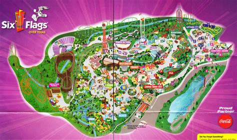 six flags texas arlington map six flags texas 2009 park map