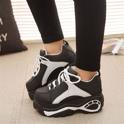new womens lace up high platform toe athletic