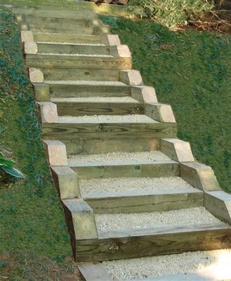 Landscape Timbers Steps Pressure Treated Timber And Gravel Stairs Yard Ideas