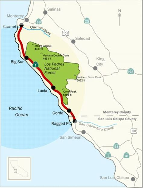 map us highway 1 big sur map highway 1 travel maps california dude