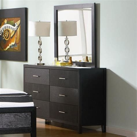 Black Dresser With Mirror Drawers by Coaster Grove 6 Drawer Dresser And Mirror In Black